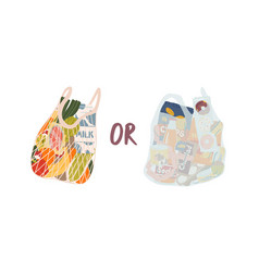 Turtle bag and plastic bag flat vector
