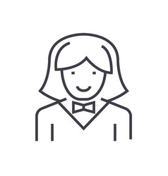 Waitress woman line icon sign vector