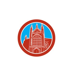 Winchester cathedral woodcut retro vector