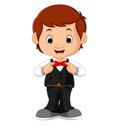 young handsome waiter standing vector image