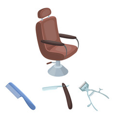 a razor a mechanical hair clipper an armchair vector image