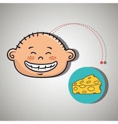 boy cheese food eat vector image