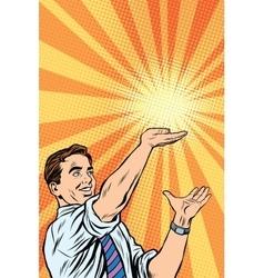 Retro man sun on the palm vector image vector image