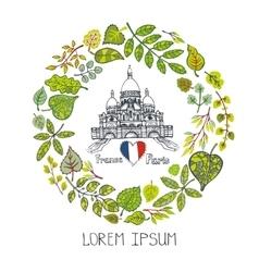 Spring in ParisLeaves wreath Sacre Coeur vector image vector image