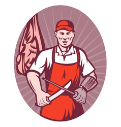 butcher sharpening knife retro style vector image vector image