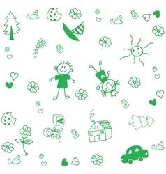 Draw for kids doodle art vector image