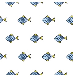 Fish line icon seamless pattern vector image vector image