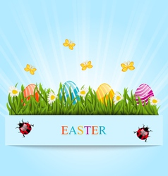 Greeting card with Easter colorful eggs and vector image vector image