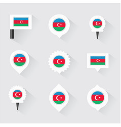 azerbaijan flag and pins for infographic and map vector image