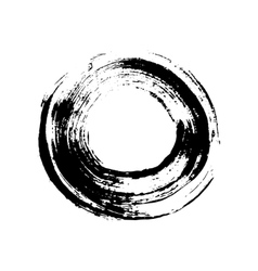 Black and white grunge circle like a brush stroke vector image vector image