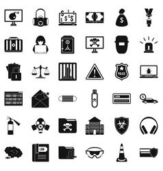 hacker icons set simple style vector image vector image