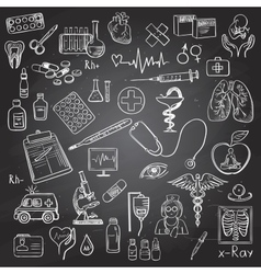 Health care and medicine doodle vector image vector image