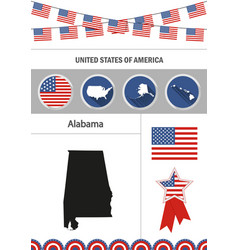 map of alabama set of flat design icons vector image vector image