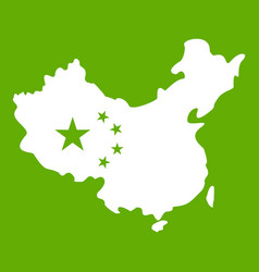 map of china icon green vector image
