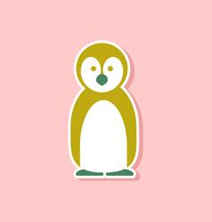paper sticker on stylish background penguin vector image