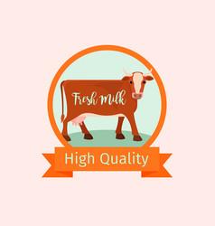 cow orange label design vector image