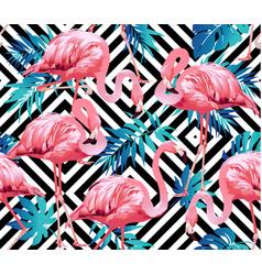 flamingo bird and tropical flowers geometric vector image
