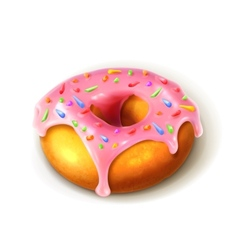 Glazed ring doughnut detailed vector image