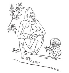 gorilla family on tree vector image