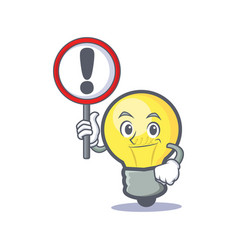 light bulb character cartoon with sign vector image vector image