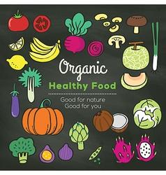 Organic food doodle on chalkboard background vector