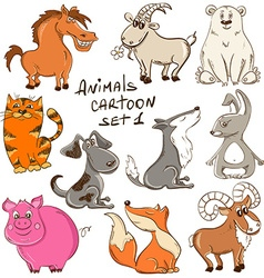 Set Of Cartoon Wild And Domestic Animals vector image vector image