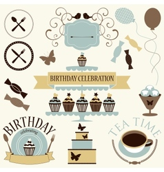 Set of celebration or holiday icons vector