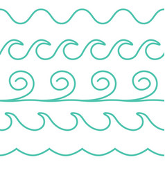 turquoise line waves set on white vector image vector image