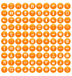 100 voyage icons set orange vector