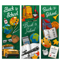 back to school chalkboard and student supplies vector image