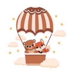 bear and fox on balloon vector image