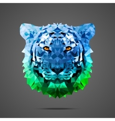 Bengal tiger poly Side light blue green vector