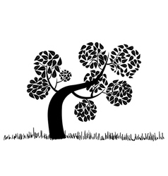 Big curly tree silhouette vector image