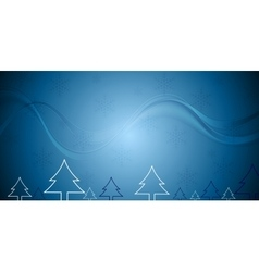 Blue Christmas background with fir trees vector