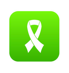 breast cancer awareness ribbon icon digital green vector image
