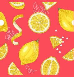 bright hand drawn seamless pattern with lemons vector image