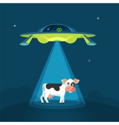 Cartoon funny aliens spaceship abducts the cow vector image