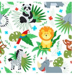 cartoon jungle animal print animals pattern vector image