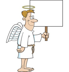 Cartoon male angel holding a sign vector image