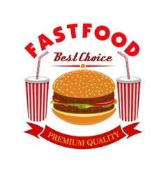 Cheeseburger and soda drink for fast food menu vector image vector image