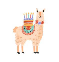 childish cute lama standing with celebratory vector image