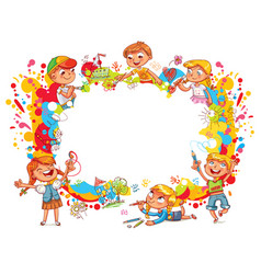 Children paint abstract abstract color splash vector