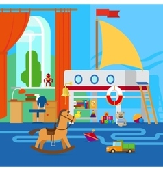 Children room with toys vector