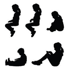 children silhouette sitting happy set vector image