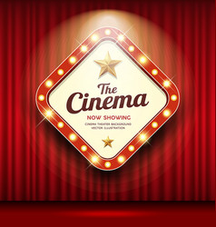 Cinema theater sign shaped square light up vector