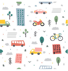 City seamless pattern childish city vector