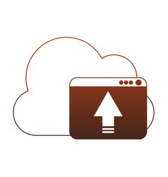 cloud computing upload red lines vector image
