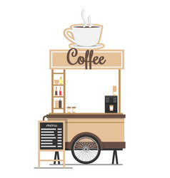 coffee stand with board menu ilustration vector image