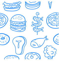 Collection of food various style doodles vector