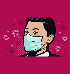 Covid-19 coronavirus human in medical mask vector
